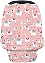 Wanyint Cute Llama Pink Car Seat Covers for Babies Girls,Nursing Cover Carseat Canopy,Baby Breastfeeding Cover,Multi Use Nursing Scarf,Infant Stroller Cover