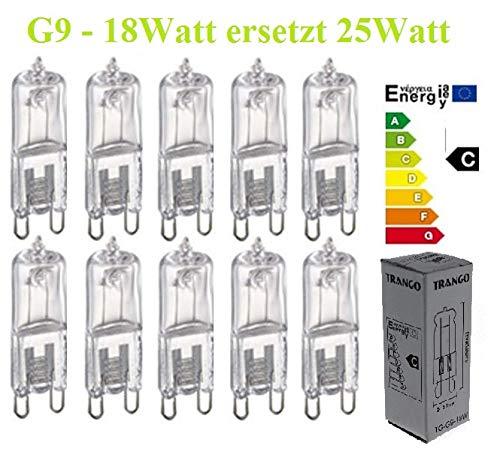 10er Pack dimmbare 18 Watt Eco Energy Saver statt 25 Watt Leuchtmittel G9 Lampensockel Spot Halogen
