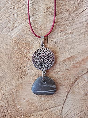 Colgante con el símbolo del Mandala con piedra del Mediterráneo, Collar Estilo Boho Chic, Joyas espirituales, Amuleto