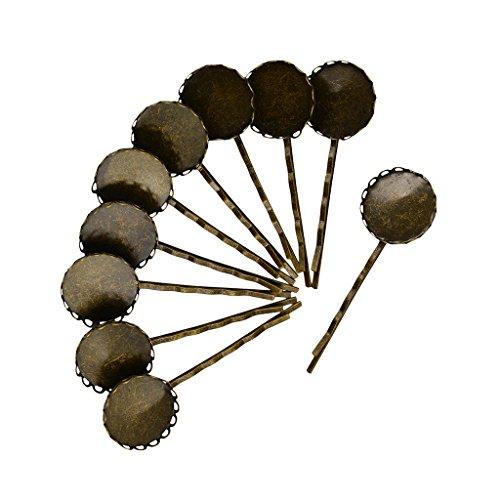 MagiDeal 10pcs Pinces à Cheveux Fleur Barrette Supports de Broches Accessoires de Bricolage DIY Bijoux - 20.4mm