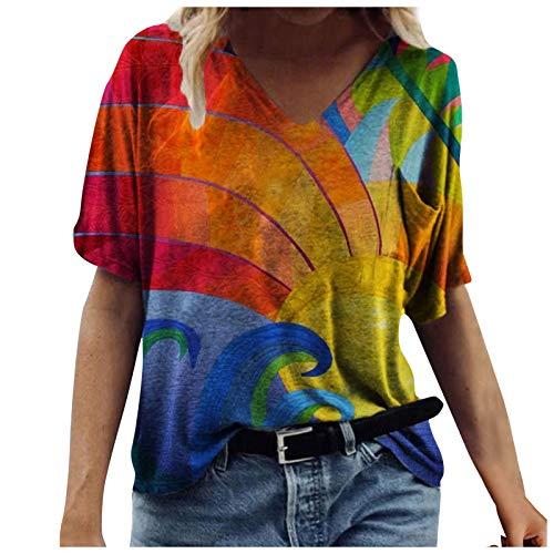 Camiseta de manga corta con estampado floral para mujer, talla grande, informal, con estampado de arcoíris, doble-pecho, L, #4 - Amarillo