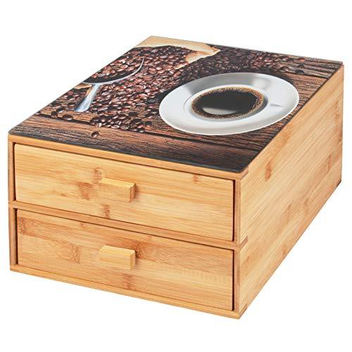 bremermann Scatola per capsule di caffè in bambù con piano decorativo in vetro/scatola per bustine di tè