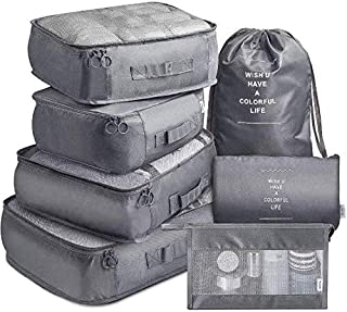NANAO 7 Pack Packing Cubes Value Set for Travel Luggage Organiser Bag Compression Pouches Clothes Suitcase Packing Organiz...