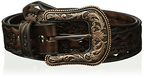 Ariat Women's Copper Buckle Triangle Cut Out Belt, brown/black, Medium