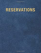 Reservations: Reservation Book For Restaurant | 2019 365 Day Guest Booking Diary | Hostess Table Log Journal | Blue Printed Leather