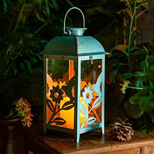 Solar Lantern Outdoor Hummingbird Blue - Antique Metal & Glass Construction Solar Garden Lantern - Indoor or Outdoor Solar Hanging Lantern or Tabletop Solar Powered Lantern with LED Flickering Candle