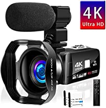 Camcorder 4K 48MP WiFi Control Digital Camera 3.0 Touch Screen Night Vision Video Camcorder with External Microphone