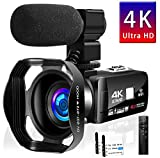 Camcorder 4K 48MP 16X WiFi Control Digital Camera 3.0 Touch Screen Night Vision Video Camcorder with 2.4G Remote Control and External Microphone