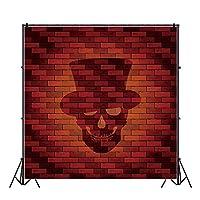 Qinunipoto 背景布 写真撮影用 背景 布 撮影 写真の背景 赤レンガの壁の背景 骷髅パターン 子供の写真 ポートレート写真の背景 自宅 写真館 無反射布 写真スタジオ 写真 カスタマイズ可能な背景 ビニール 1.8x1.8m