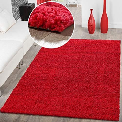 T & T Design Hoogpolig Shaggy tapijt Preishammer effen rood modern 150 cm Quadrat rood