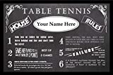 Zieglerworld Personalized Vintage Chalkboard Looking Table Tennis Rules Poster - Framed