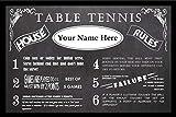 Zieglerworld Personalized Vintage Chalkboard Looking Table Tennis Rules Poster - Framed