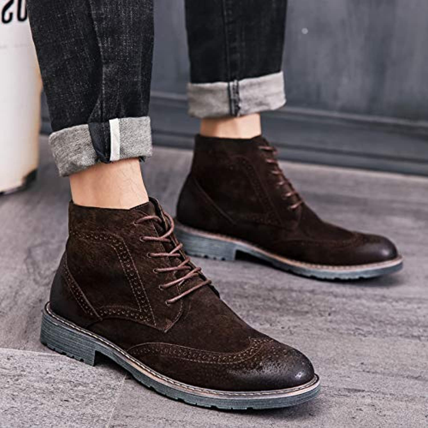 ZyuQ Ankle boots In The Martin Boots Men'S Boots High shoes Men'S High Help Scrub High Tube Winter