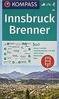 Innsbruck, Brenner 1:50 000: 5in1 Wanderkarte 1:50000 mit Panorama, Aktiv Guide und Detailkarten inklusive Karte zur offline Verwendung in der KOMPASS-App. Fahrradfahren. Skitouren.