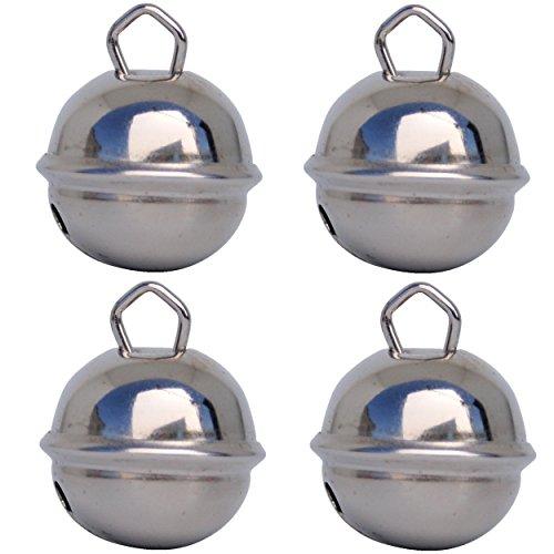 Cascabeles Plateados Grandes (25mm x4 Campanillas Plata Musicales Sonoros) - 16 Colores de MUSIKID (Bebe Niños) Para Manualidades Navidad Boda Sonajeros Muñeca Perros Pesca Carnaval Gato Montessori