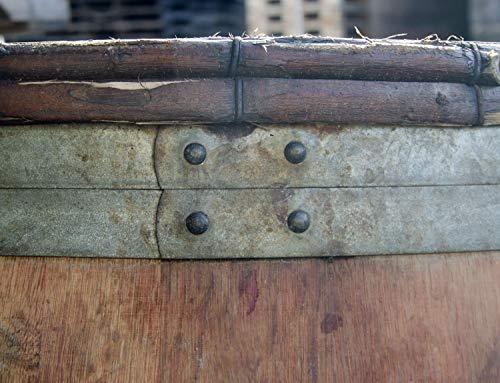 Temesso Burgunderfass, Regentonne, Regenfass, Fass aus Eichenholz mit schwarzen Ringen und Haselnussruten 228 l geöffnet - original Fass