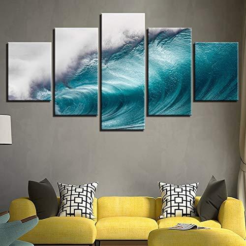 5 stuks blauwe golfvormige canvas, anime moderne muur- woonkamer schilderkunst schilderkunst schilderkunst schilderij in schilderij