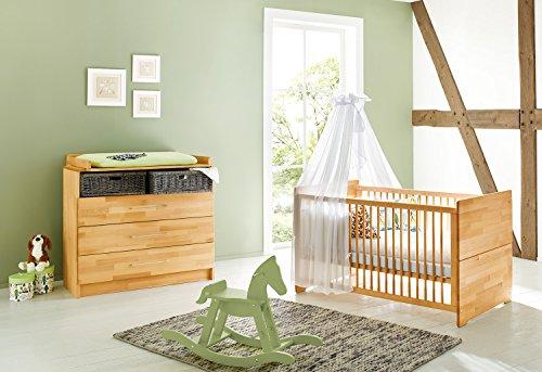 Pinolino Sparset Natura breit, 2-teilig, Kinderbett (140 x 70 cm) und breite Wickelkommode mit Wickelansatz, Buche massiv, geölt (Art.-Nr. 09 21 74 B)