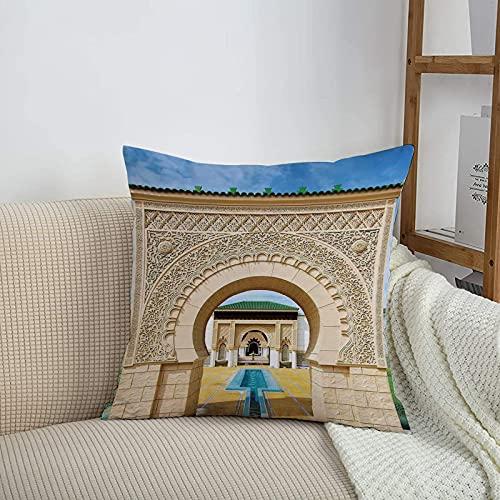 Fundas de cojines sencillas y clásicas de 45 x 45 cm,Arquitectura árabe, marroquí tradicional en estilo african,ideales para casa, oficina o para la espalda en el coche - Fundas de Poliéster para sofá