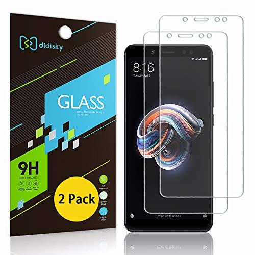 Didisky [2-Unidades Cristal Templado Protector de Pantalla para Xiaomi Redmi Note 5, Antihuellas, Sin Burbujas, Fácil de Limpiar, 9H Dureza, Fácil de Instalar, Transparente