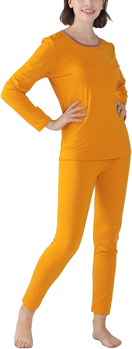 Yeokou Womens Casual 2 PCS Brushed Lined Ultra Soft Thermal Underwear Long Jonhs Set