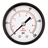 DuraChoice 2' Dial Utility Pressure Gauge, Water Oil Gas, 1/4' NPT Center Back Mount, Black Steel Case, 0-100 PSI