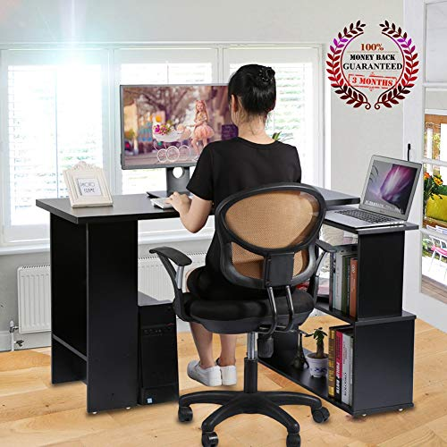 AYNEFY Mesa de Escritura de Estudio, Escritorio de computadora, Gran Espacio de Almacenamiento, Capacidad de Carga de 1058.2 oz para Estudio, Oficina, Dormitorio