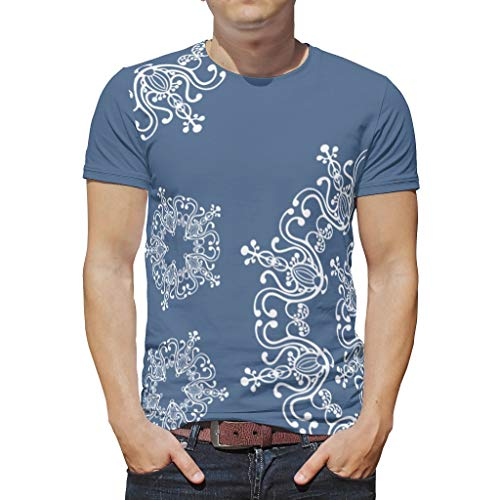 O2ECH-8 Männer Boho T-Shirt Student Shirt, Liniendesign Mandela Freizeit Sommer - Mandela Kunst Muster gedruckt Schnelltrocknend Tragen White 2XL