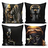 Ysahome Modern Art Decor Digital Print Pillow Cover - Black Woman Cushion Cover - African American Girls Throw Pillow Case - Elegant Theme Decorative Accent Pillow, 18x18 Inches, Black Gold (SET OF 4)