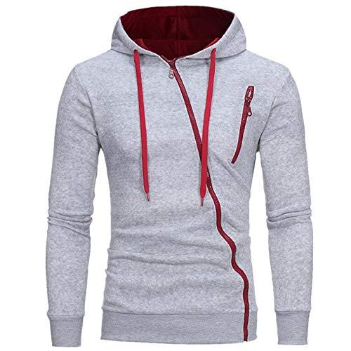 Cremallera inclinada casual slim chaqueta con capucha suéter de los hombres desgaste
