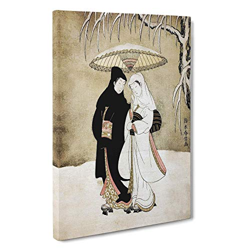 BIG Box Art Leinwanddruck Wandbild   Zwei Liebhaber unter einem Regenschirm von Harunobu Suzuki   Asiatische Heimdekoration für Wohnzimmer   Weiß Grün Schwarz Braun, Canvas, farbig, 30x20 Inch