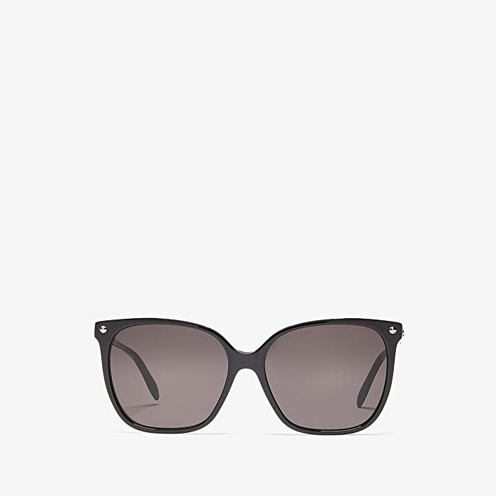 Alexander McQueen  AM0188S (Shiny Black/Grey Solid) Fashion Sunglasses