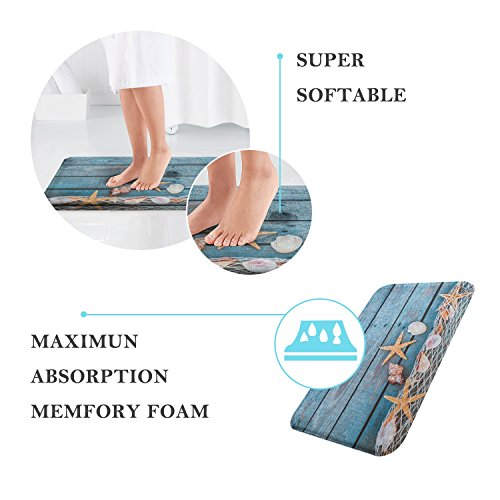 "QIYI Bath Mat Rug Super Soft Non-Slip Machine Washable Quickly Drying Office Floors Mats Kitchen Dining Living Bathroom Tub Rugs 16"" W x 24"" L (40 x 60 cm) -Blue Hat Snowman"