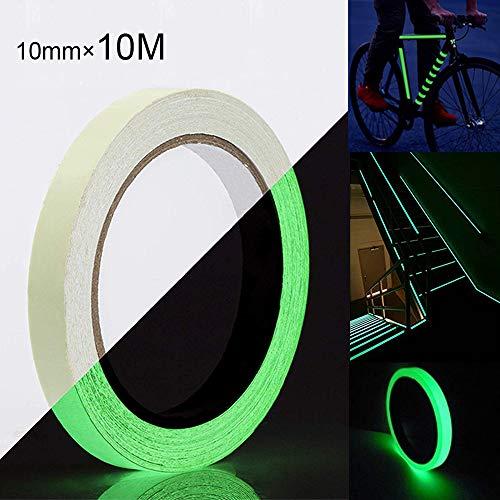 FULARR 10mm×10m Premium Fluoreszierendes Klebeband, Luminous Tape Phosphor Klebeband, Nachleuchtend Markierungsband, Leuchtendes Band Selbstklebend Warnklebeband, Glow in The Dark –– Grünes Licht