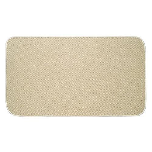 InterDesign iDry Alfombra baño | Alfombra microfibra extra grande de secado rápido | Alfombra antideslizante para baño y aseo | Poliéster beige