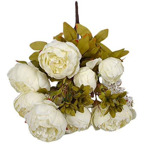 Ramo de 13 Ramas de Flores Artificiales de Marjon, para decoración del hogar, Accesorios de Tiro (Blanco)