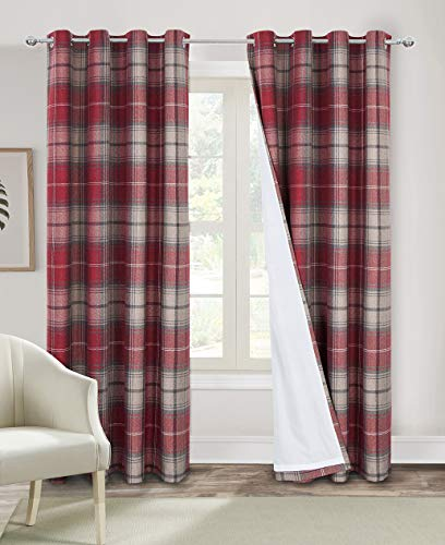 Alexandra Cole Red Plaid Curtains Drapes for Living Room Classical Country Grommet Window Treatment Light Filtering Bedroom Curtains 54 Inches Length 2 Panels