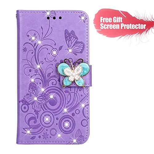 Fatcatparadise Cover Compatibile Nokia 5.1 2018 [con Pellicola in Vetro Temperato], Cuoio Portafoglio Flip Case Diamante Disegni Wallet Case Custodia in PU Lussuosa Cover (Viola)