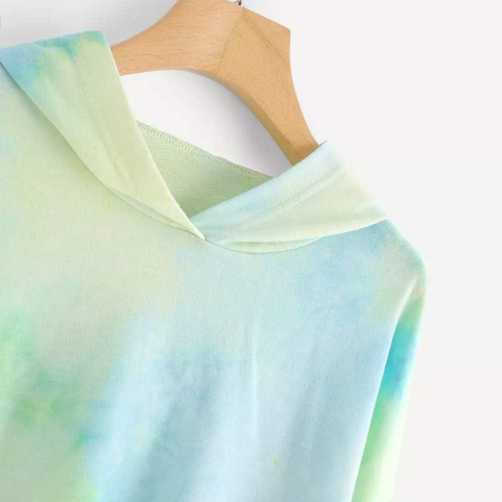 Sweatshirt for Women Crewneck Tie Dye Colorblock Drop Shoulder Comfy Long Sleeve Cropped Top Casual Streetwear Hoodie