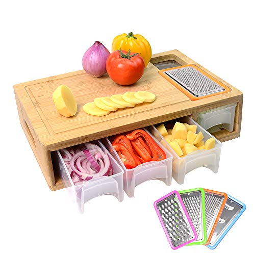 Bamboo Cutting Board with Containers, Lids, and Graters, Large Wood...