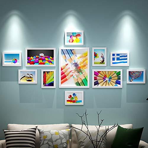 AXXK, fotolijst voor de woonkamer, van massief hout, wandbevestiging, fotocassette, combinatieframe, creatieve wanddecoratie, slaapkamer, eenvoudige fotowand, G