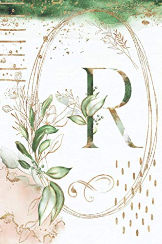 R: Monogram 'R' - Dot Grid Bullet Journal - Pretty Personalized Initial Design - Best Notebook Diary For Women, Girls, Teens, Home, Work, School - ... - Beautiful Watercolor & Gold Cover 6'x9'