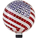 "Alpine Corporation 12"" Tall Mosaic American Flag Gazing Globe Decor"