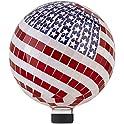 "Alpine Corporation 12"" Tall Mosaic American Flag Gazing Globe Decor"
