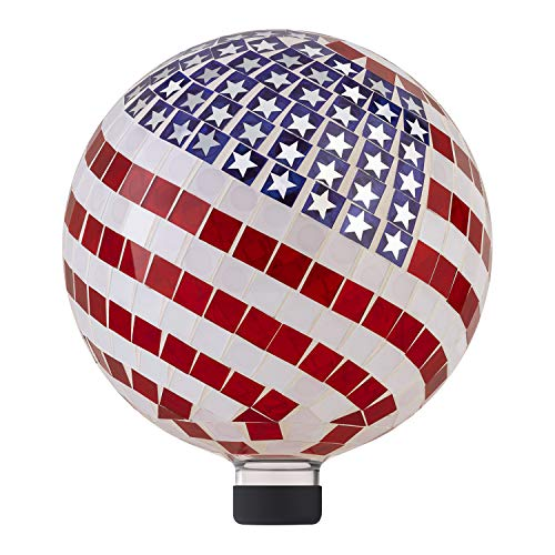 Alpine Corporation 12' Tall Indoor/Outdoor Mosaic American Flag Gazing Globe Yard Art Decor
