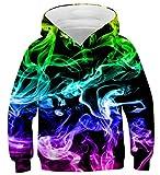 Fanient 3D Print Colorful Smoke Novedad gráfica Colorful Smoke Hoodies Sudaderas Casuales Jersey para niños y niñas