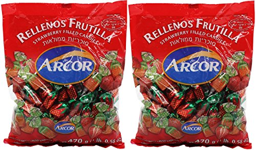Arcor Juice Filled Strawberry Hard Kosher Candy 2 Packs, Each bag contains 470 Grams = Total 940 Grams (2.072lb) (2 Pack)