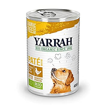 YARRAH Nourriture pour Chien Humide - pour toutes les races et tous les âges | Pâté biologique exquis au poulet et aux algues 12 x 400gr | 100% Bio & sans additifs artificiels