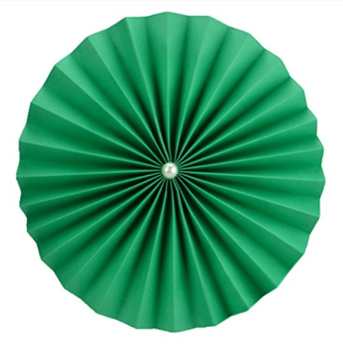 """Aimeart Hanging Paper Fan Flower 3 Pcs 4"""" With Pearl Basic DIY Decoration For Wedding Birthday Party Festival Store Window Decoration, Dark Green"""