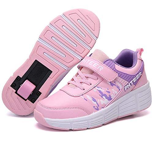FUYY Zapatillas para Correr Zapatillas Deportivas con Ruedas, Zapatillas para Niños con Ruedas, Zapatillas con Ruedas De Moda, Zapatillas De Skate Zapatillas para Niños con Ruedas,Pink-31 EU